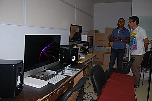 Trustee, Nick Gold, is shown some of the equipment purchased by the Music Fund for Cuba and currently being installed at the recording Studio at the University of Havana (ISA) Faculty of Music