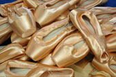 Some of the ballet shoes donated by the Birmingham and London Royal Ballets