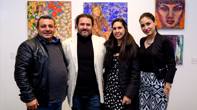Cuban artists Mario Gonzalez, Luis Camejo, curator Chrislie Perez and artist Adislen Reyes at GX Gallery