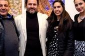 Cuban artists Mario Gonzalez, Luis Camejo, curator Chrislie Perez and artist Adislen Reyes at GX Gallery
