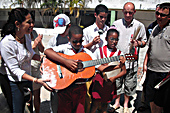 Donating a guitar to the Abel Santamaria School for Visually Impaired Children in Havana