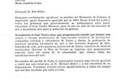 Original letter of thanks in spanish from the Ministry of Culture