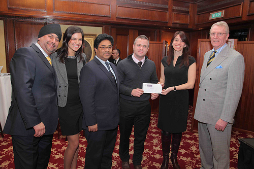 Music Fund Coordinator, Natasha Hickman, receives a cheque from the YDL